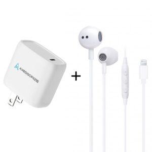 earphones, usb-c charger